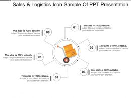 Sales And Logistics Icon Sample Of Ppt Presentation