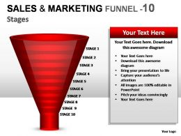 Sales And Marketing Funnel 10 Stages Powerpoint Presentation Slides