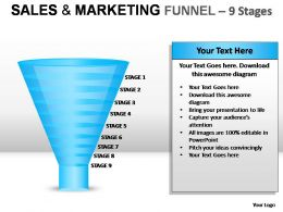 Sales And Marketing Funnel 9 Stages Powerpoint Presentation Slides