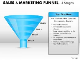 Sales And Marketing Funnel With 4 Stages