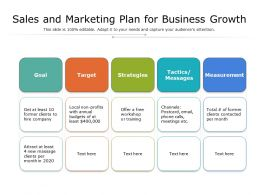 Sales And Marketing Plan For Business Growth