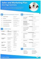 Sales And Marketing Plan One Page Summary Presentation Report Infographic PPT PDF Document