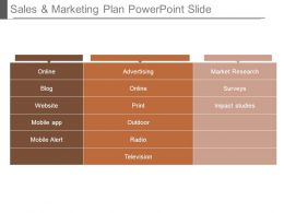 Sales And Marketing Plan Powerpoint Slide