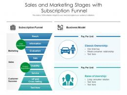 Sales And Marketing Stages With Subscription Funnel