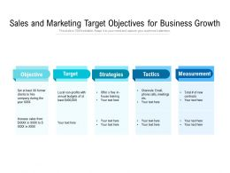 Sales And Marketing Target Objectives For Business Growth