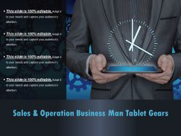 Sales And Operation Business Man Tablet Gears