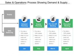 Sales And Operations Process Showing Demand And Supply Planning