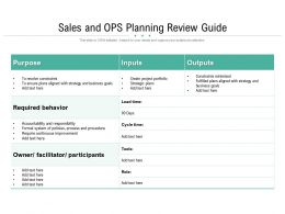 Sales And OPS Planning Review Guide