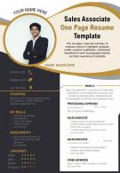 Sales Associate One Page Resume Template Presentation Report Infographic PPT PDF Document
