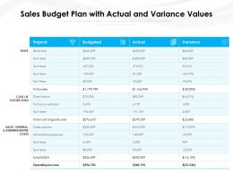 Sales Budget Plan With Actual And Variance Values