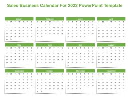Sales Business Calendar For 2022 Powerpoint Template