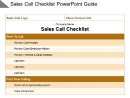 Sales Call Checklist Powerpoint Guide