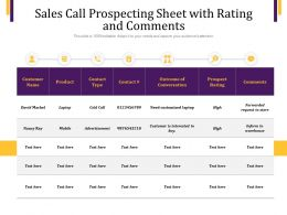 Sales Call Prospecting Sheet With Rating And Comments