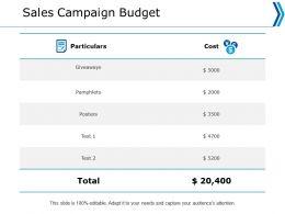 Sales Campaign Budget Cost Ppt Powerpoint Presentation Portfolio Slide Portrait