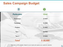 Sales Campaign Budget Ppt Show Infographic Template