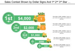 Sales Contest Shown By Dollar Signs And 1st 2nd 3rd Star Position