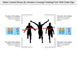 Sales Contest Shown By Humans Crossing Finishing Point With Dollar