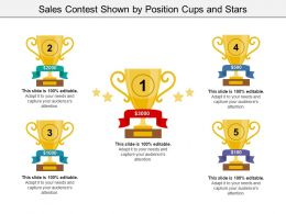 Sales Contest Shown By Position Cups And Stars
