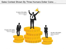 Sales Contest Shown By Three Humans Dollar Coins And Cup Holding