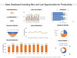 Sales Dashboard Including Won And Lost Opportunities For Productivity