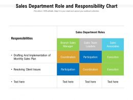 Sales Department Role And Responsibility Chart