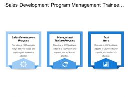 Sales Development Program Management Trainee Program Management Development