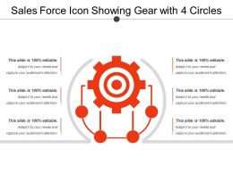 Sales Force Icon Showing Gear With 4 Circles