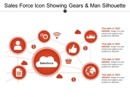 Sales Force Icon Showing Gears And Man Silhouette