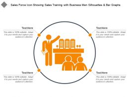 Sales Force Icon Showing Sales Training With Business Men Silhouettes And Bar Graphs