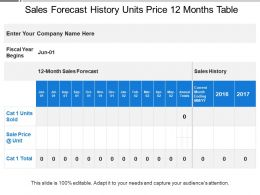 Sales Forecast History Units Price 12 Months Table