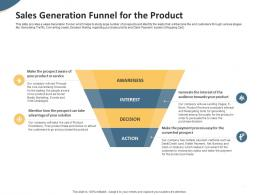 Sales Generation Funnel For The Product Pitch Deck To Raise Seed Money From Angel Investors Ppt Graphics