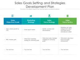 Sales Goals Setting And Strategies Development Plan