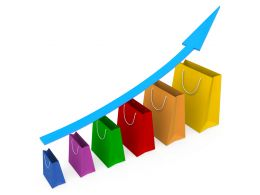 Sales Growth Chart With Blue Growth Arrow Stock Photo