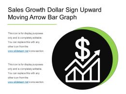 sales growth dollar sign upward moving arrow bar graph