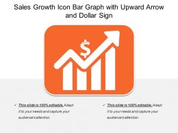 sales growth icon bar graph with upward arrow and dollar sign