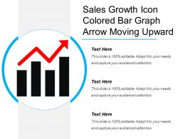 sales growth icon colored bar graph arrow moving upward