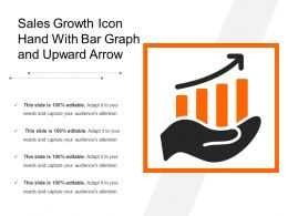 sales growth icon hand with bar graph and upward arrow