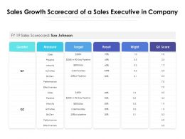 Sales Growth Scorecard Of A Sales Executive In Company