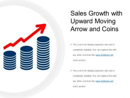 sales growth with upward moving arrow and coins