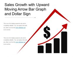 sales growth with upward moving arrow bar graph and dollar sign