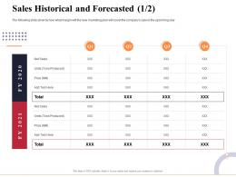 Sales Historical And Forecasted Produced Marketing And Business Development Action Plan Ppt Information