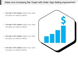 Sales Icon Increasing Bar Graph With Dollar Sign Selling Improvement