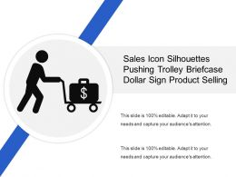 Sales Icon Silhouettes Pushing Trolley Briefcase Dollar Sign Product Selling