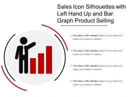Sales Icon Silhouettes With Left Hand Up And Bar Graph Product Selling