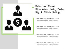 Sales Icon Three Silhouettes Having Dollar Sign In Middle Selling