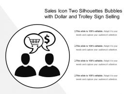 Sales Icon Two Silhouettes Bubbles With Dollar And Trolley Sign Selling