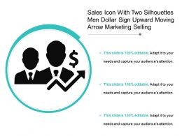 Sales Icon With Two Silhouettes Men Dollar Sign Upward Moving Arrow Marketing Selling