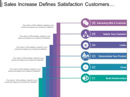 Sales Increase Defines Satisfaction Customers Demonstrate Product And Close