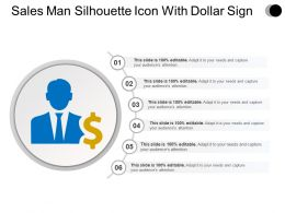 Sales Man Silhouette Icon With Dollar Sign Ppt Design