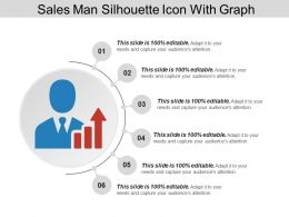 Sales Man Silhouette Icon With Graph Ppt Diagrams